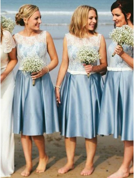 A-Line Round Neck Knee-Length Blue Satin Bridesmaid Dress with Lace