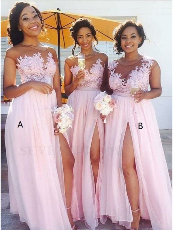 A-Line Round Neck Long Pink Chiffon Bridesmaid Dress with Appliques