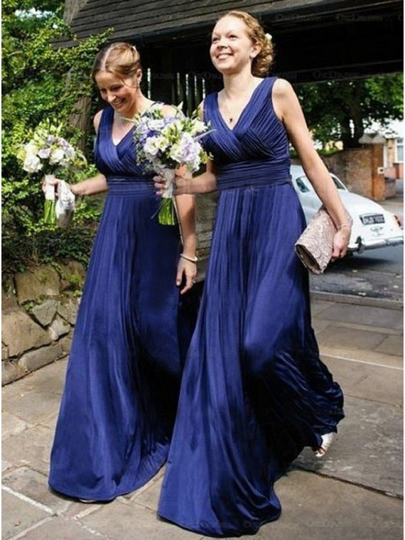 A-Line V-Neck Navy Blue Sleeveless Stretch Satin Bridesmaid Dress