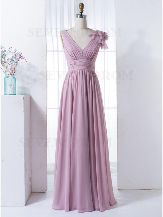 A-Line V-Neck Floor-Length Lavender Chiffon Bridesmaid Dress with Pleats