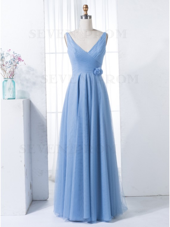 A-Line V-Neck Long Dusty Blue Bridesmaid Dress with Flower