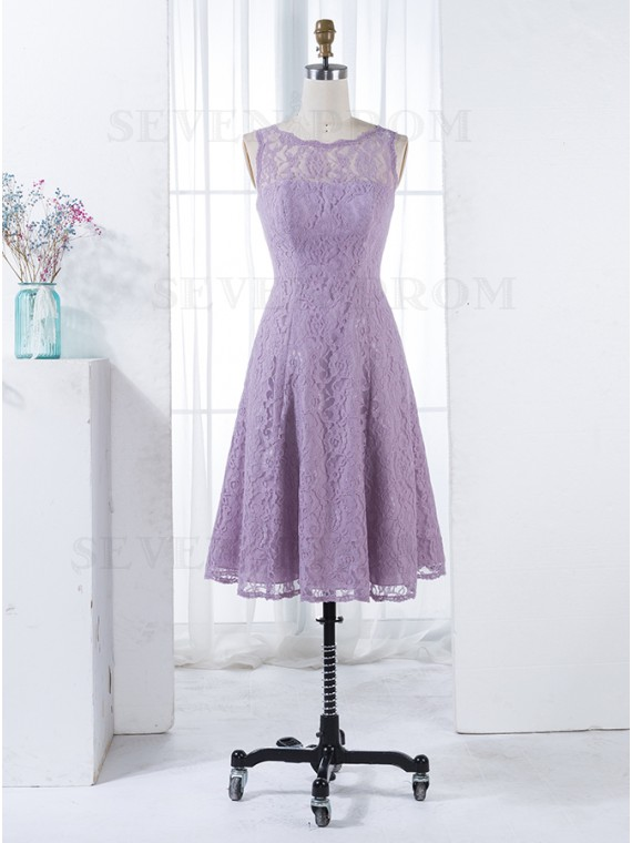 A-Line Round Neck Sleeveless Lilac Lace Short Bridesmaid Dress