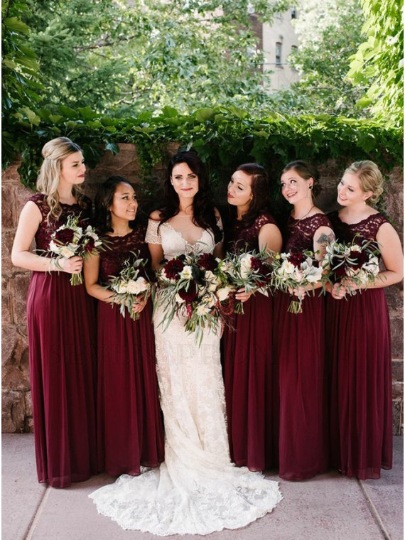 A-Line Round Neck Long Burgundy Long Bridesmaid Dress with Lace