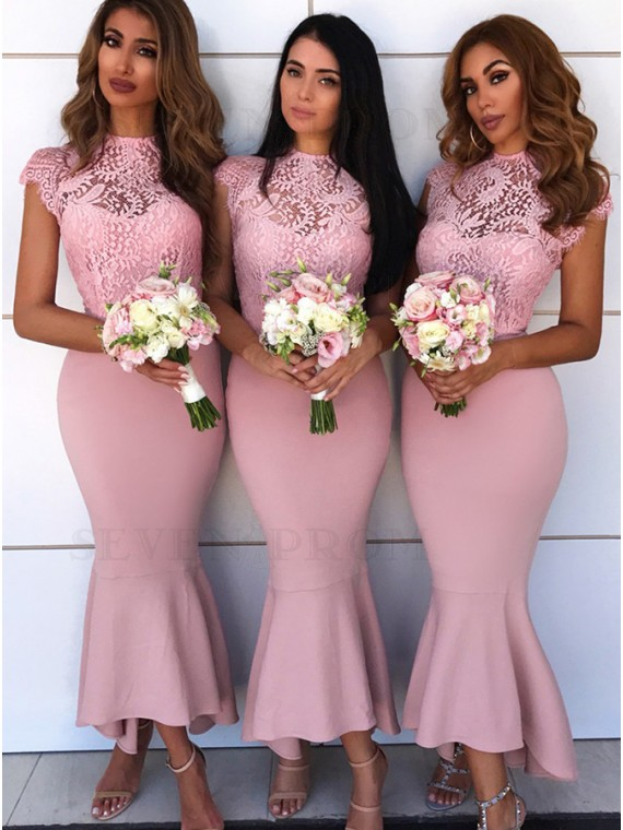 Mermaid Round Neck Cap Sleeves Pink Bridesmaid Dress with Lace