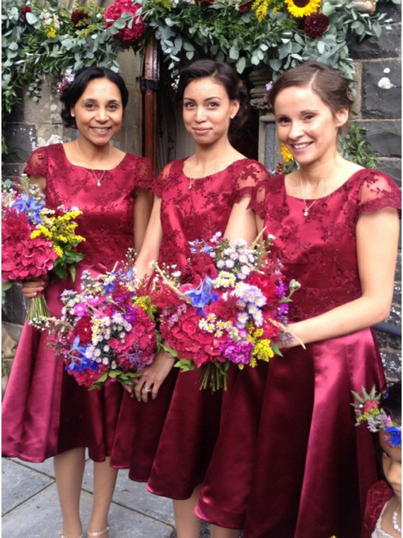 A-Line Round Neck Cap Sleeves Burgundy Bridesmaid Dress with Appliques
