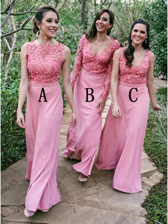 Sheath Bateau Floor-Length Pink Bridesmaid Dress with Appliques