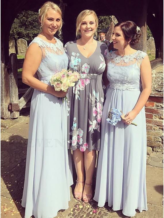 A-Line Round Neck Chiffon Long Bridesmaid Dress