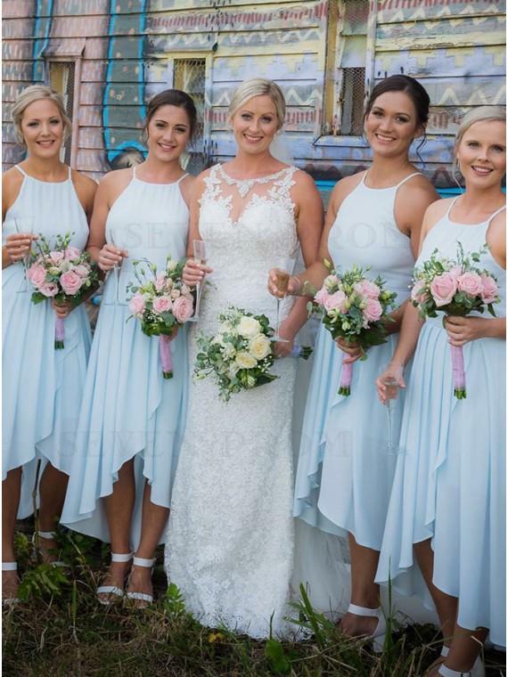A-Line Round Neck High Low Light Blue Chiffon Bridesmaid Dress