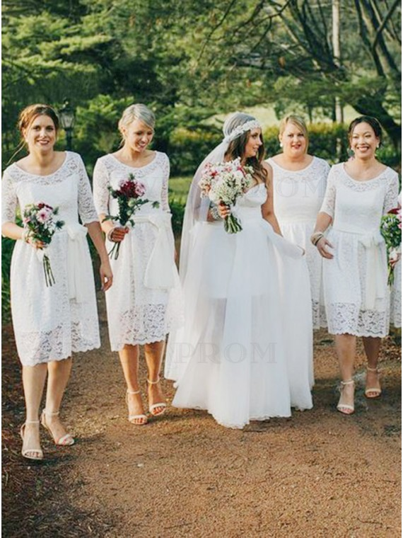 A-Line Round Neck Half Sleeves Short White Lace Bridesmaid Dress