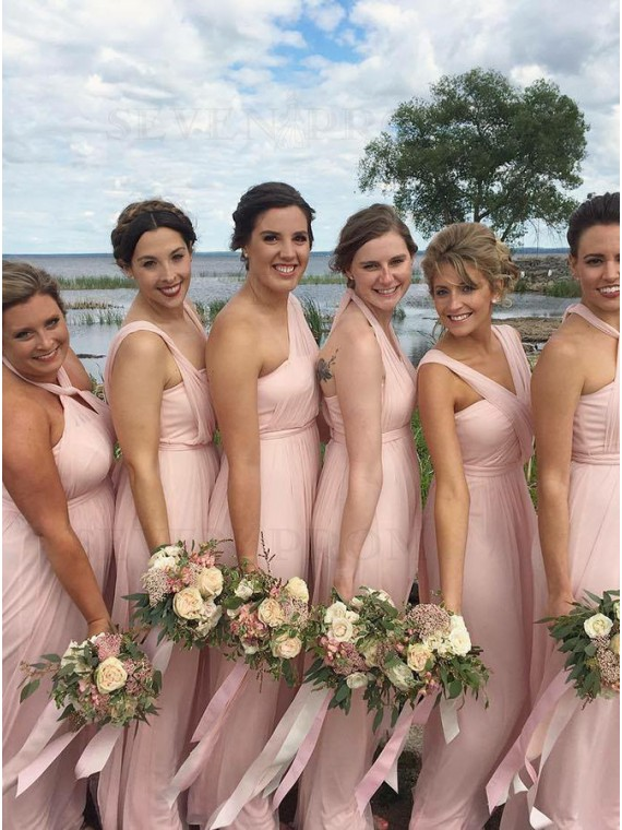 A-Line Halter Floor-Length Pink Convertible Bridesmaid Dress
