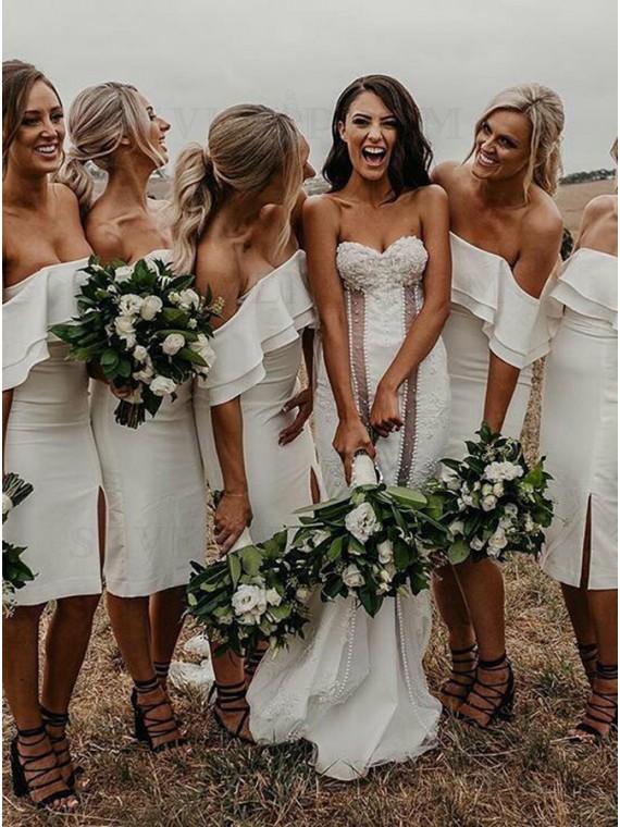 Sheath Off-the-Shoulder White Knee-Length Bridesmaid Dress