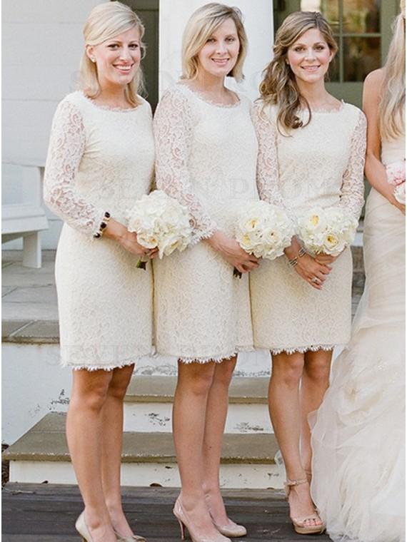 Sheath Round Neck Long Sleeves Short Ivory Lace Bridesmaid Dress