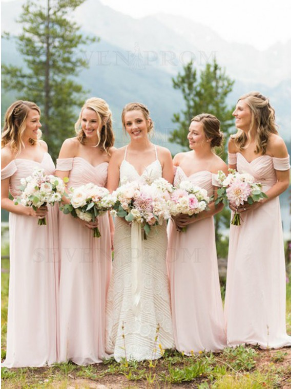 A-Line Off-the-Shoulder Long Pearl Pink Bridesmaid Dress