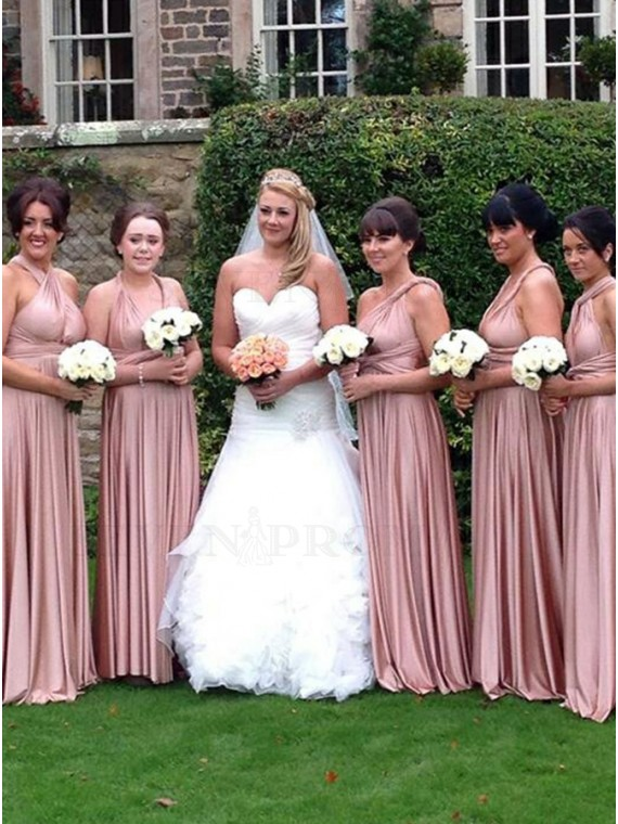 A-Line Cross Neck Floor-Length Blush Convertible Bridesmaid Dress
