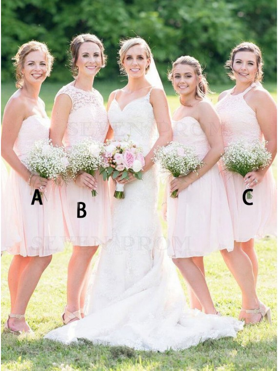 A-Line Sweetheart Short Pearl Pink Bridesmaid Dress with Lace