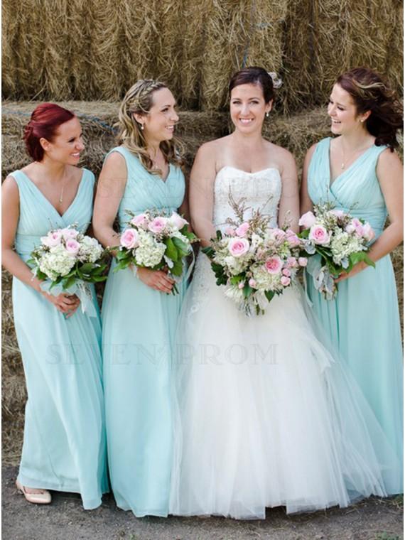 A-Line V-Neck Floor-Length Mint Green Chiffon Bridesmaid Dress