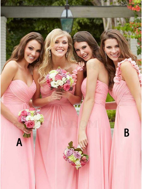 A-Line Sweethear Floor-Length Pink Bridesmaid Dress with Ruched