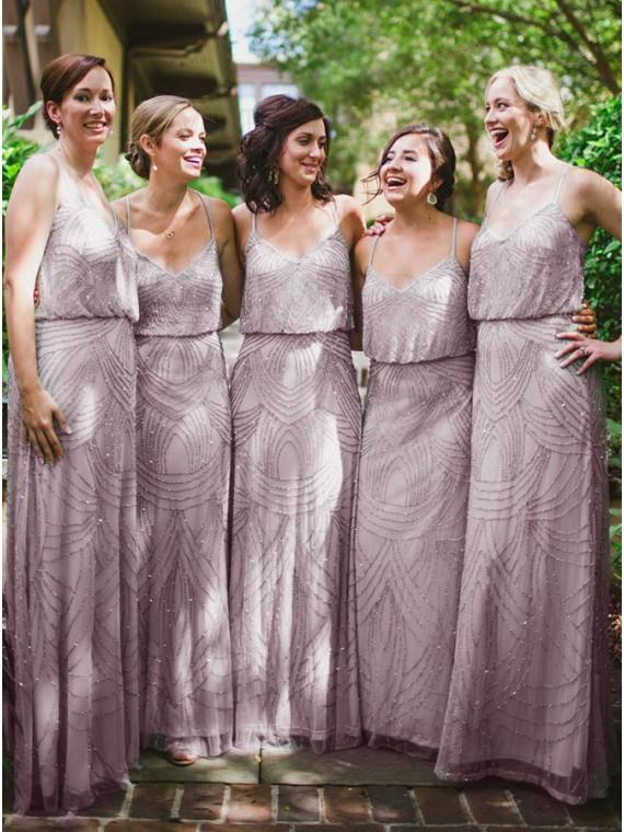 Sheath Spaghetti Straps Long Lavender Bridesmaid Dress with Sequins