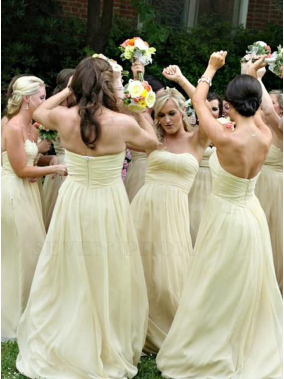 A-Line Sweetheart Long Daffodil Chiffon Bridesmaid Dress