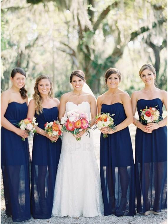 Sheath Sweetheart Floor-length Dark Blue Bridesmaid Dress