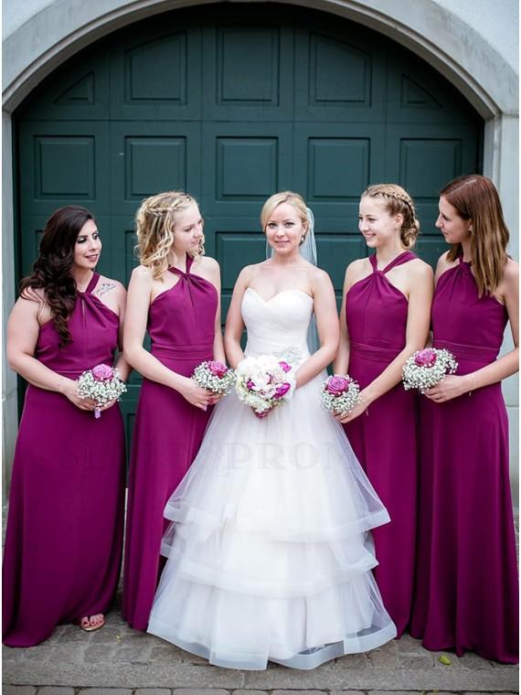 A-Line V-Neck Backless Floor-Length Fuchsia Chiffon Bridesmaid Dress