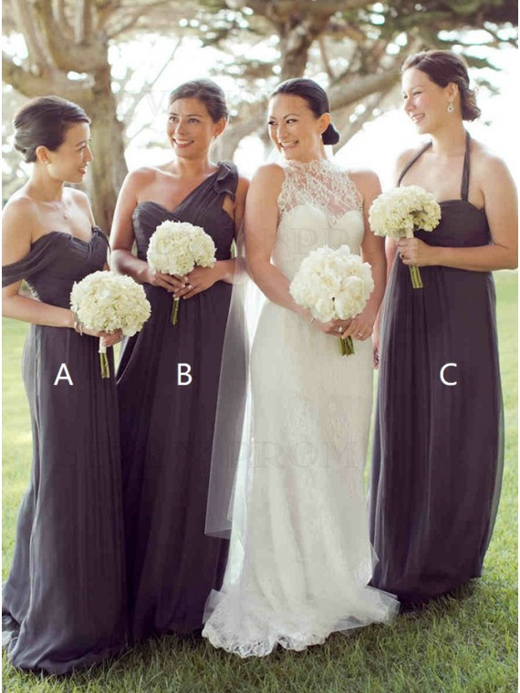 A-Line Off-the-Shoulder Long Grey Bridesmaid Dress with Pleats