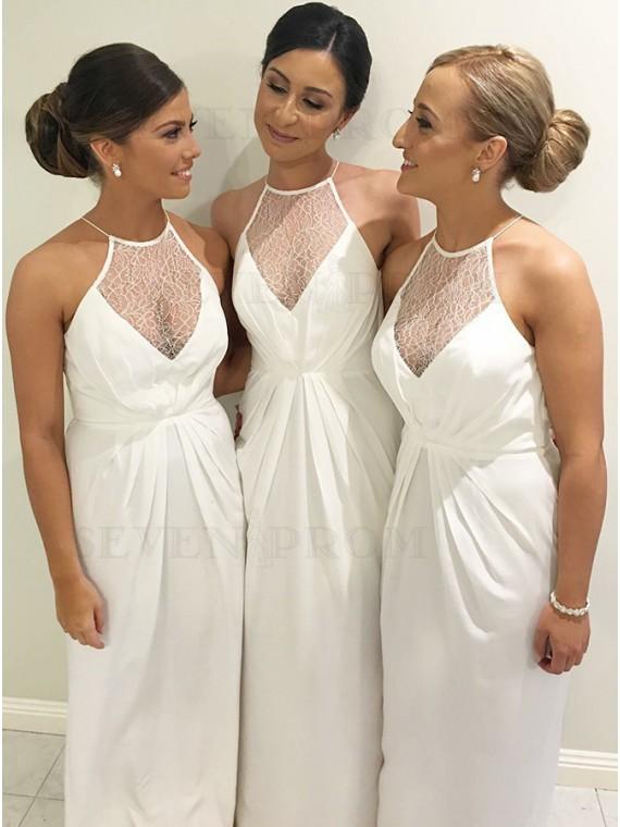 Sheath Halter Long White Bridesmaid Dress with Lace