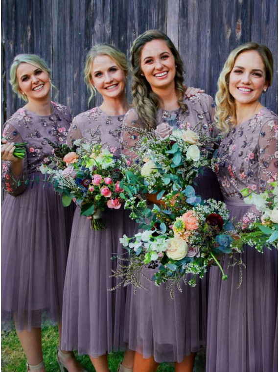 A-Line Round Neck Long Sleeves Lilac Bridesmaid Dress with Beading