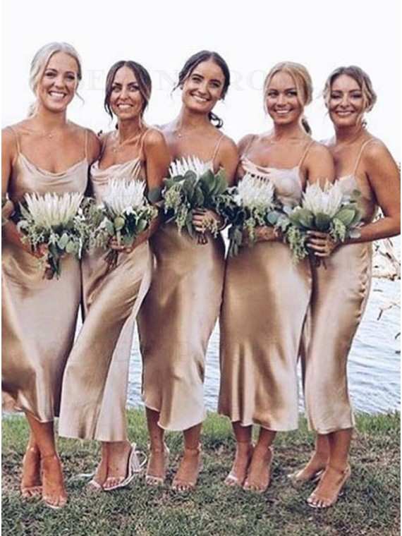 Long Spaghetti Straps Champagne Beach Bridesmaid Dress