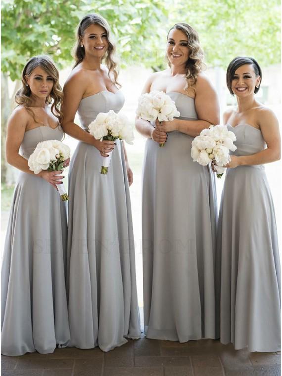 A-Line Sweetheart Floor-Length Grey Chiffon Bridesmaid Dress