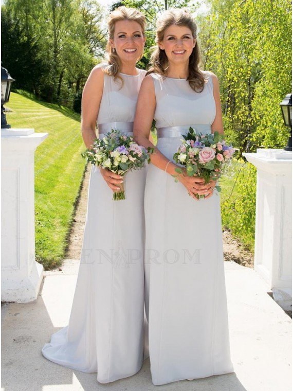 Sheath Round Neck Floor-Length Light Grey Bridesmaidf Dress
