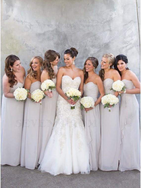A-Line Sweetheart Floor-Length Light Grey Chiffon Bridesmaid Dress