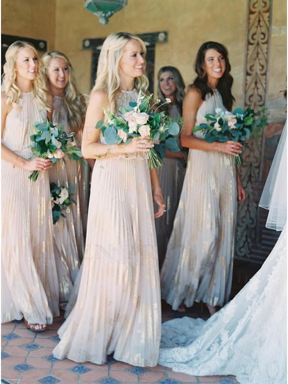 A-Line Jewel Long Light Champagne Metallic Bridesmaid Dress