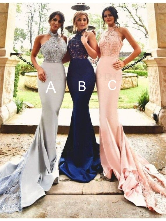 Stunning Halter Backless Long Mermaid Bridesmaid Dress with Lace