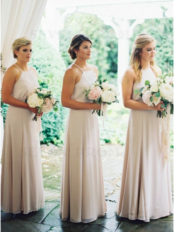 A-Line Halter Neck Floor-Length Ivory Chiffon Bridesmaid Dress