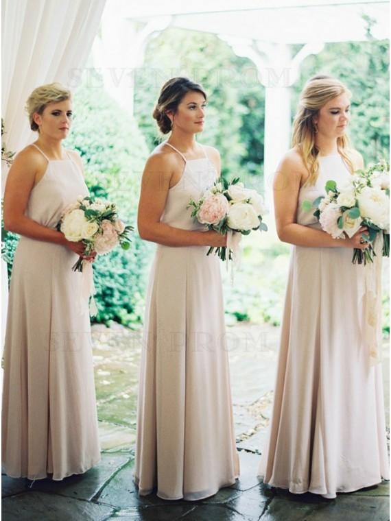 A-Line Halter Neck Floor-Length Ivory Chiffon Bridesmaid Dress