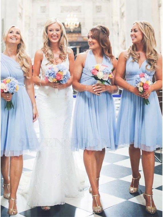 Convertible Light Blue Bridesmaid Dress Short Wedding Party Dress