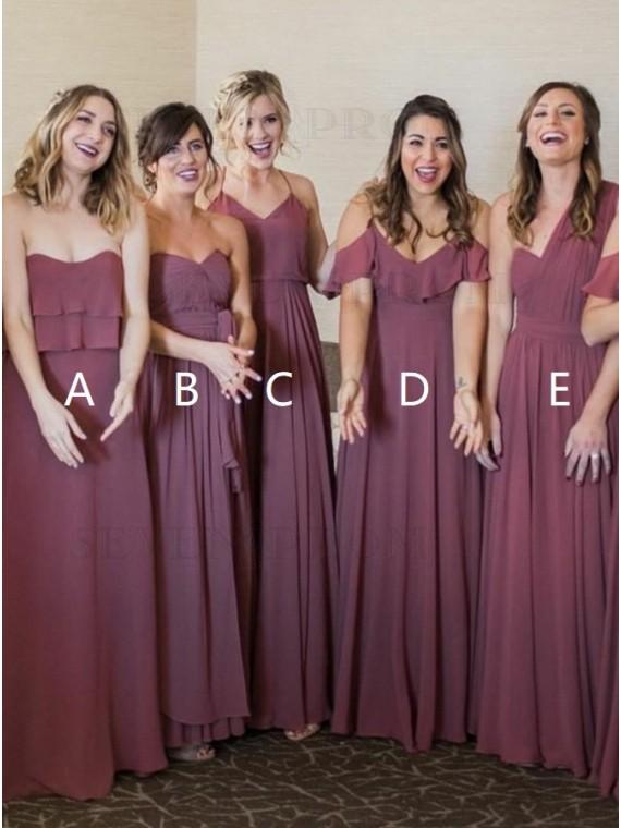 A-Line Sweetheart Chiffon Long Maroon Mismatched Bridesmaid Dress