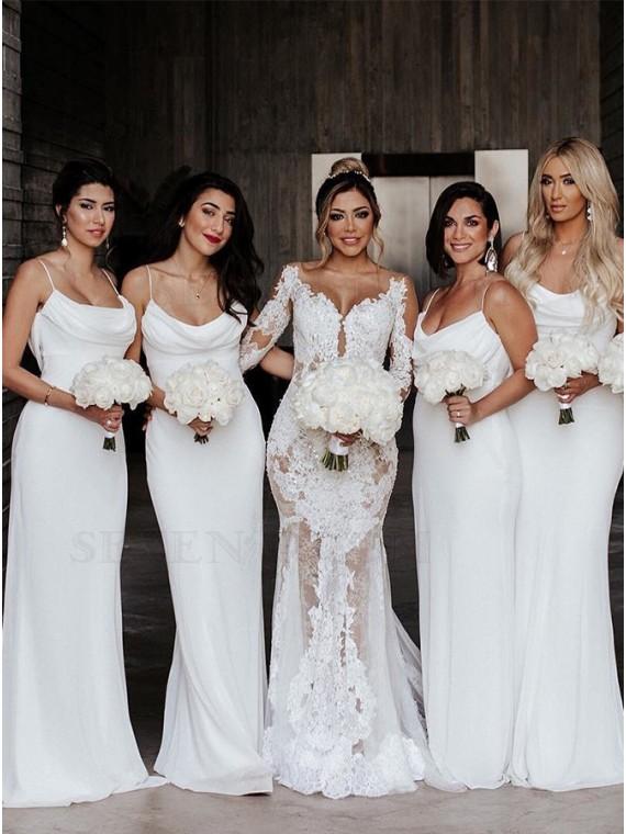 Sheath Spaghetti Straps Long Simple White Bridesmaid Dress