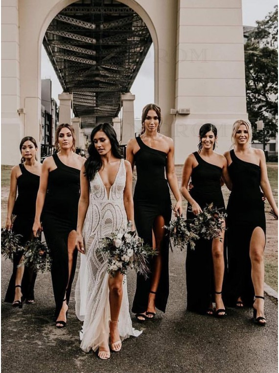 Sheath One Shoulder Long Black Bridesmaid Dress with Split