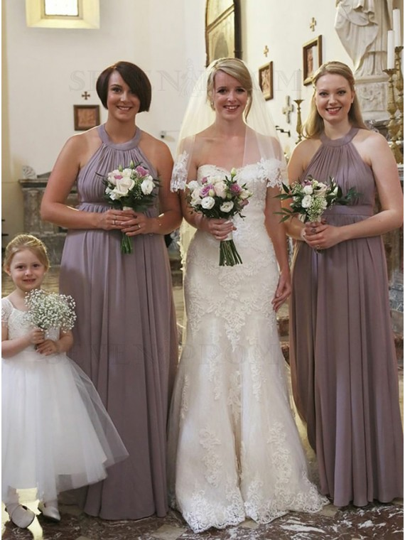 A-Line Round Neck Long Chiffon Dark Lilac Bridesmaid Dress