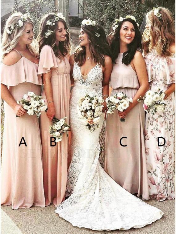 Mismatched A-Line Cold Shoulder Peach Chiffon Bridesmaid Dress