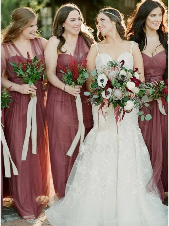 A-Line Sweetheart Dark Red Tulle Long Bridesmaid Dress