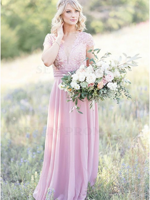 V-neck Dusty Rose Bridesmaid Dress with Sleeves