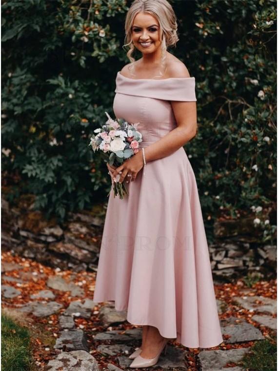 Asymmetrical Long Off the Shoulder Bridesmaid Dress