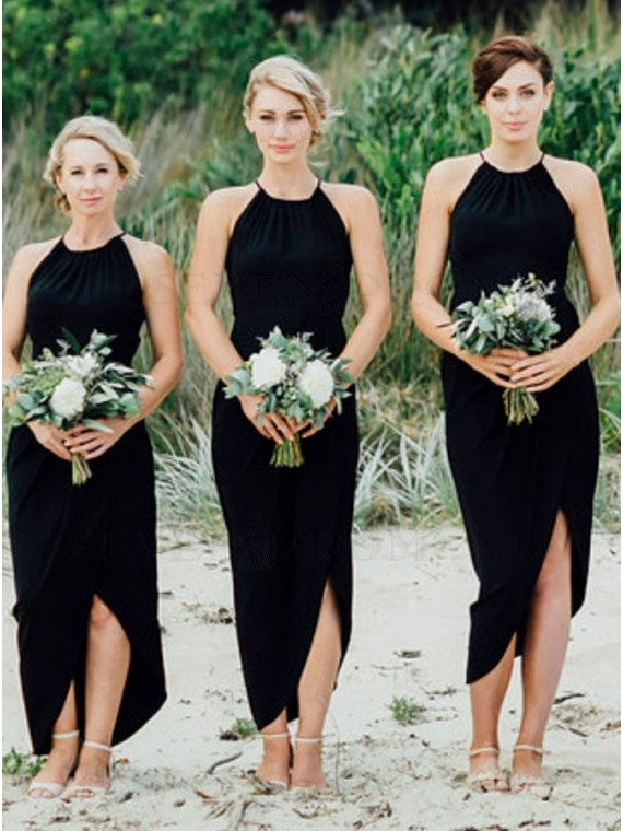 Sheath Crew Sleeveless High Low Black Bridesmaid Dress