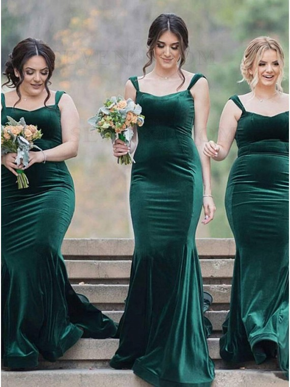 Mermaid Straps Sweep Train Dark Green Velvet Bridesmaid Dress