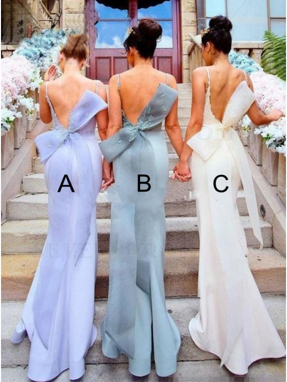 Spaghetti Straps Mermaid Backless Mismatched Bridesmaid Dress with Appliques