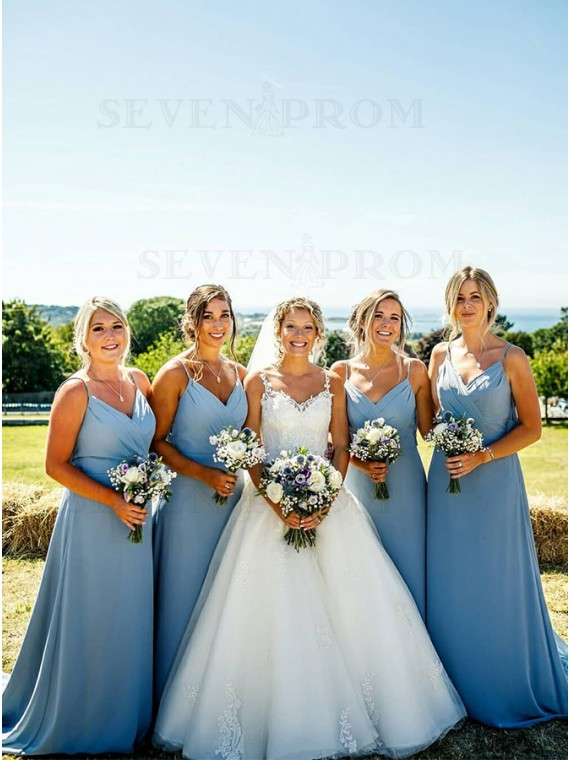 Simple Long Dusty Blue Bridesmaid Dresses