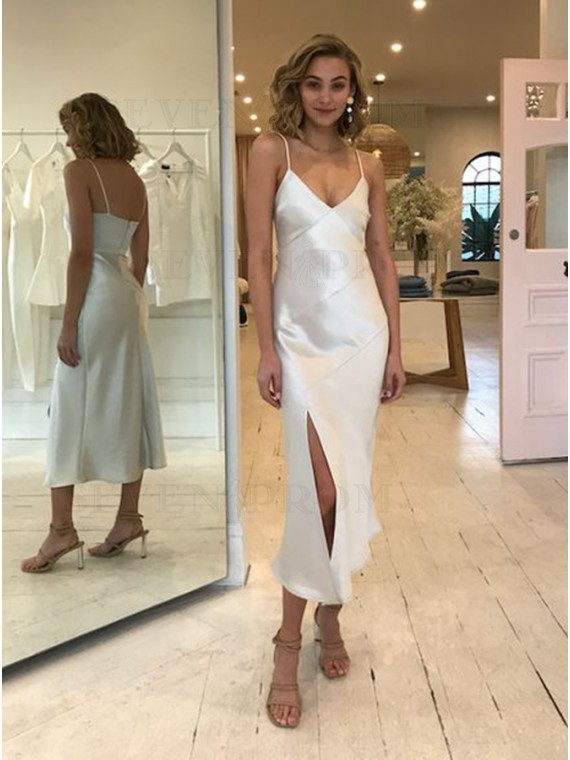 Sheath Simple Long Satin White Party Dress with Split